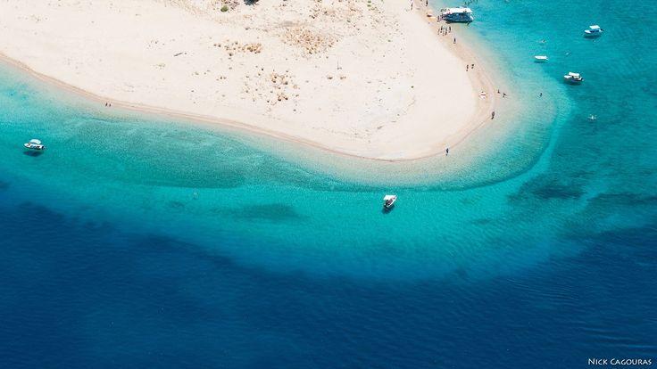 The beach on Marathonisi island, Zakynthos. Photo by Nick Cagouras.