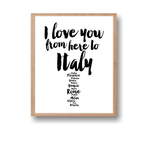 Italy Print,I love you from here to Italy,Italy Travel Wall Art by Paffle
