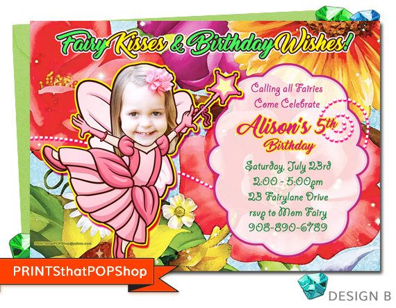 Magical Fairy Party,Custom Face Invite,Fairy Birthday Invitation,Fairy Tea Party,Photo Face Invites,Unicorn Invite,Pixie Invitation,Princess
