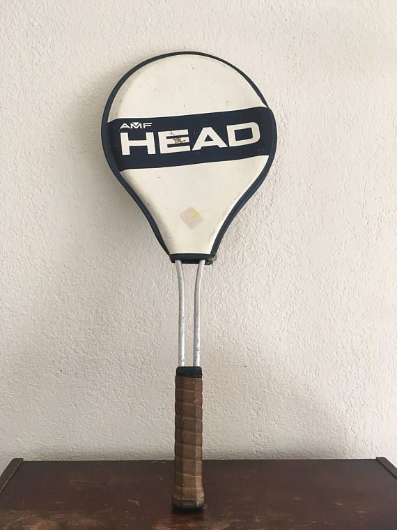 Vintage AMF Head Tennis Racket with Cover, Made in the USA Head Racquet, Stamped 932, Game Room Decor, Sports Decor, Tennis Decorations