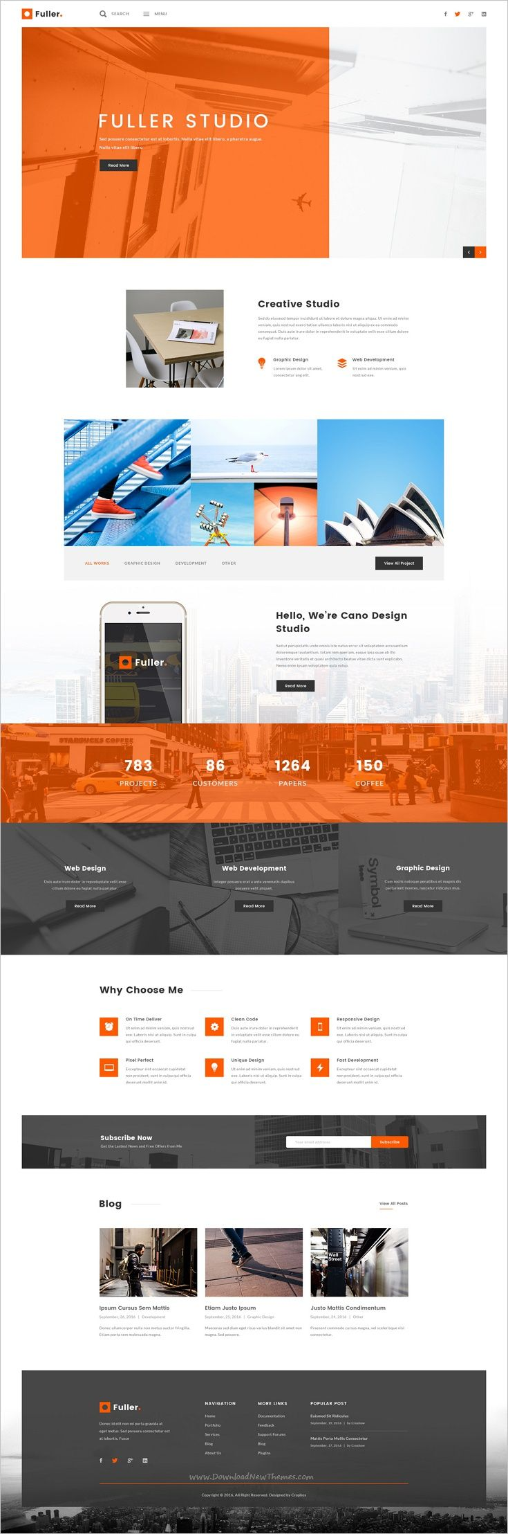 Fuller is a big creative #PSD #theme for #webdesign portfolio, resume and agency website with 5 trendy design homepage layouts and 75 organized PSD pages download now➩ https://themeforest.net/item/fuller-creative-portfolio-resume-agency-psd-template/18522282?ref=Datasata