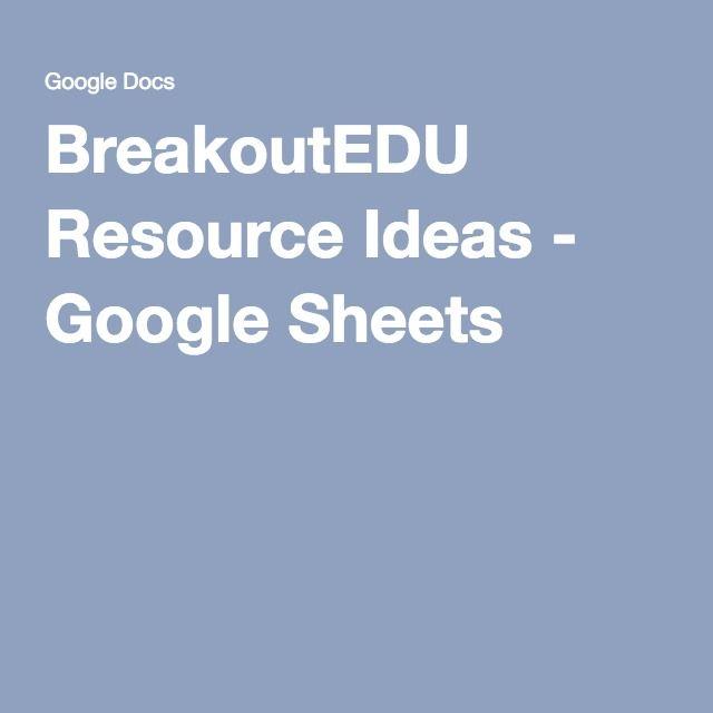 BreakoutEDU Resource Ideas - Google Sheets
