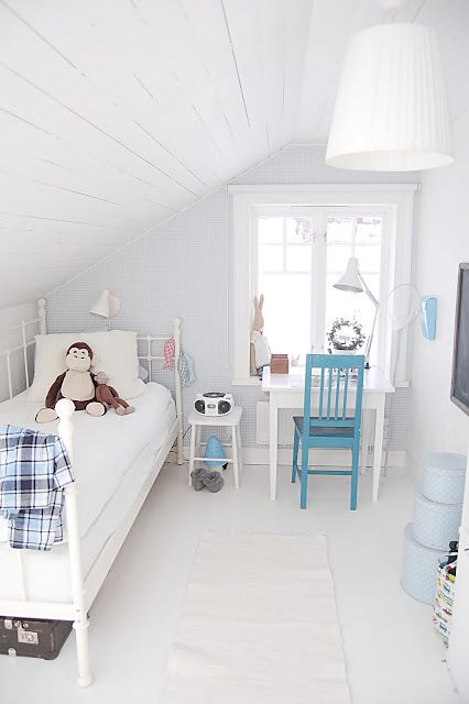 Simple way to stage those awkward bedrooms in a finished attic; often found in a cap cod, craftsman, or salt box style home.