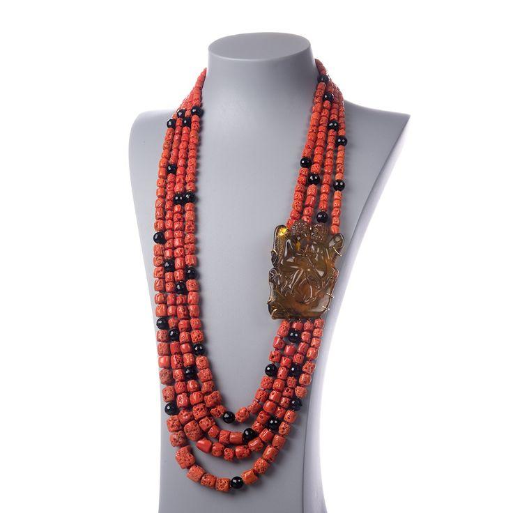 Collana di Corallo Mediterraneo Rosso Naturale, Ambra, Onice Nera e Oro 18K