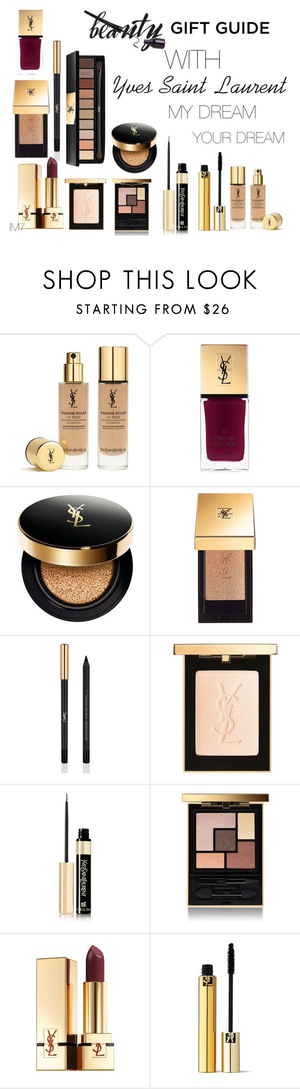 """""""Holiday Gift Guide: Beauty Dream with Yves Saint Laurent by IM7"""" by ilaria-m7 ❤ liked on Polyvore featuring Yves Saint Laurent and giftguide"""