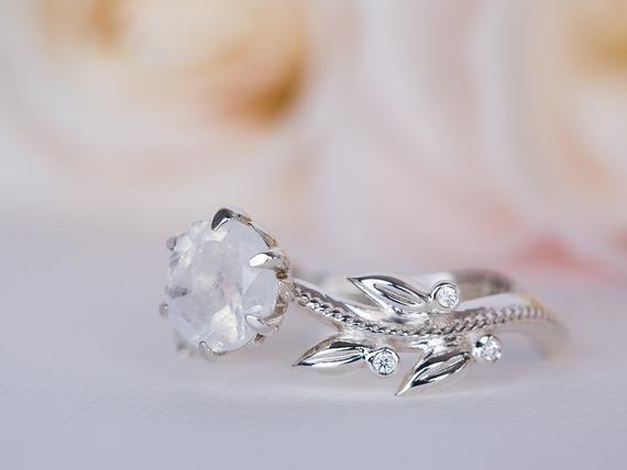 Moonstone Wedding Ring Leaves Engagement Ring Moonstone Ring White Gold Moonstone Weddi Moonstone Engagement Ring Wedding Rings Vintage Rose Engagement Ring