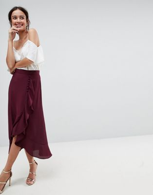 5b45e4fe6 DESIGN Chiffon midi skirt with button and frill detail | Love the Look |  Asos, Skirts, Midi skirt