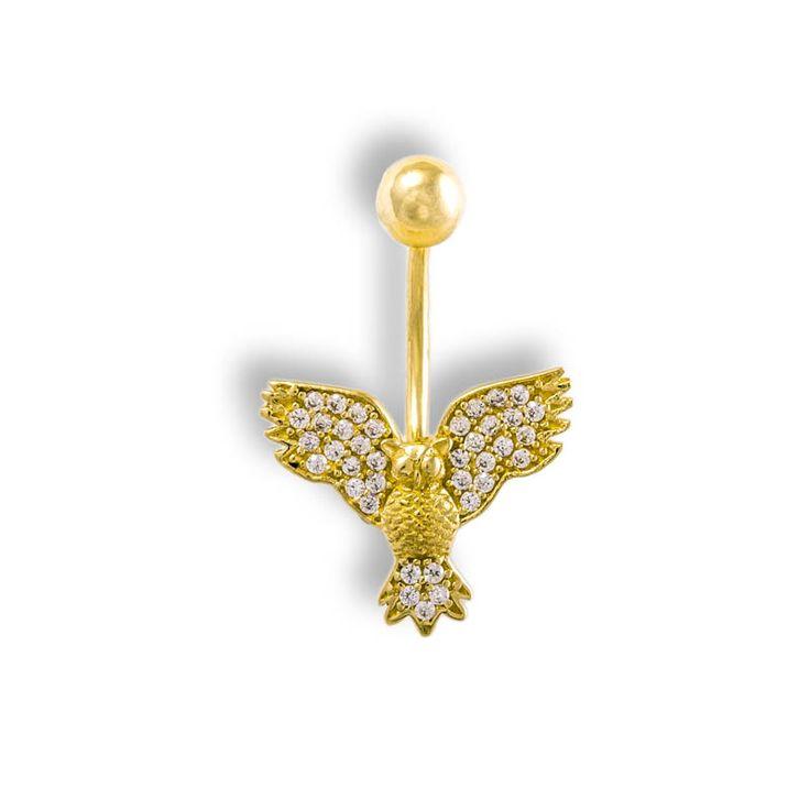 Luxusní Zlatý piercing do pupíku - Sovička se zirkony