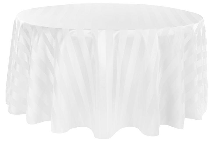 "Jacquard 120"" Round Tablecloth - Stripe White • $18.99"