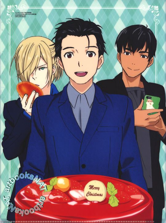 On Ice ICECongrats To Yuri And Victor Yurio Phichit JJ Christophe Happy Birthday Merry Christmas Cakes Are Display For The