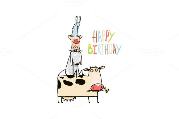 Birthday Cartoon Farm Animals Card by Popmarleo Shop on @creativemarket