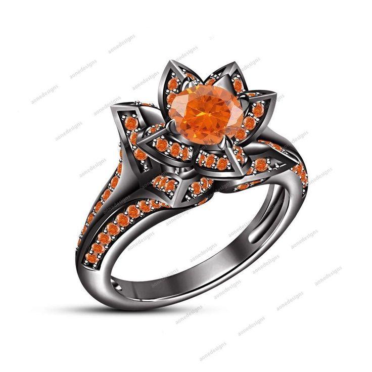 Round Orange Sapphire 14K Black Gold Finish 925 Silver Flower Engagement Ring #aonedesigns #FlowerStyleEngagementRing