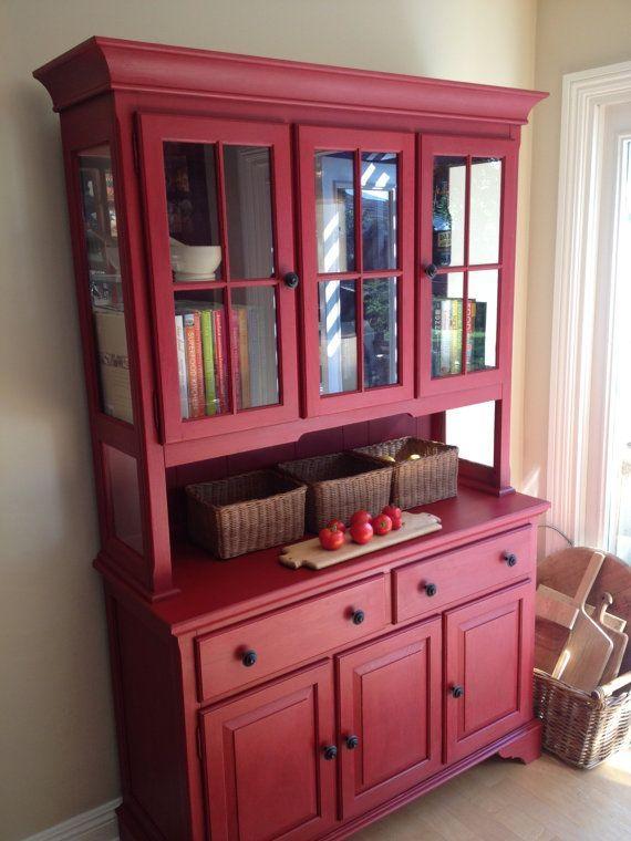 Red china cabinet/hutch SOLD by Emptynestrestoration on Etsy | Kitchen Decor