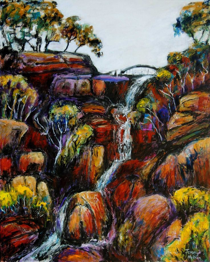 This landscape painting of a waterfall in the John Forrest National park in the Perth Hills near my studio and gallery was a commission and is now hanging in my client's house. It is 121 by 152 cms and painting in oils on canvas. My gallery is at http://jeremyholton.com and I teach art our wonderful arts guest house in NE Thailand http://Thailand-painting-holidays.com