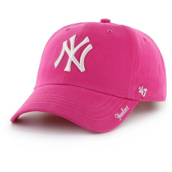 Women's '47 Brand New York Yankees Miata Clean Up Cap ($22) ❤ liked on Polyvore featuring accessories, hats, pink, yankees hat, new york yankees cap, pink yankees cap, cap hats and '47 brand