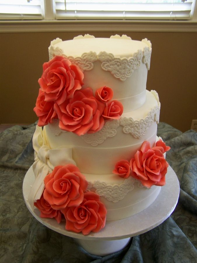 12 inch wedding cake 8 10 12 inch fondant with lace appliques and 10023