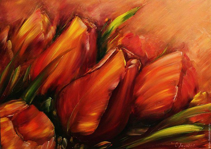 Купить Картина Красные тюльпаны - ярко-красный, тюльпаны, красные тюльпаны, картины цветов