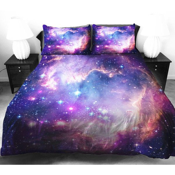 Purple galaxy quilt cover galaxy duvet cover galaxy sheets space... ($148) ❤ liked on Polyvore featuring home, bed & bath, bedding, beds, galaxy, random, purple bed sets, galaxy bed set, purple bed linen and patterned pillowcases