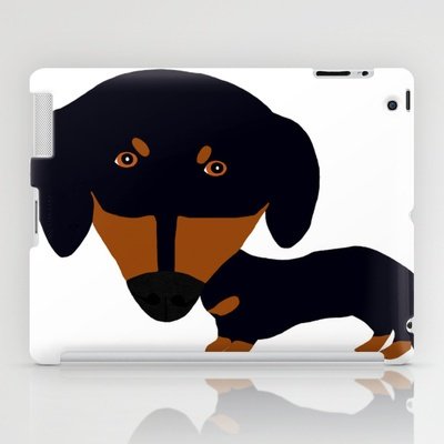 Dachshund (black and tan) iPad Case by Verene Krydsby - $60.00