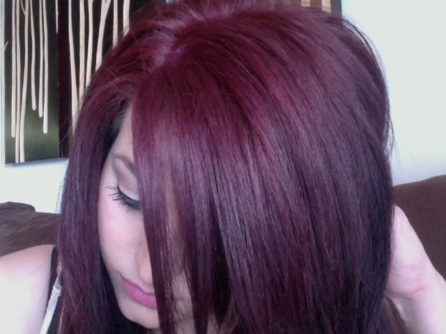 hair color - red violet.... i might want to try adding a ...