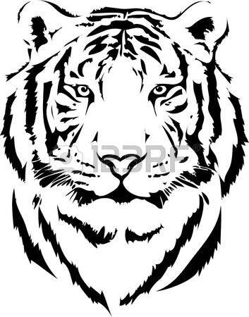 dessin noir et blanc: tête de tigre dans l'interprétation noir 2