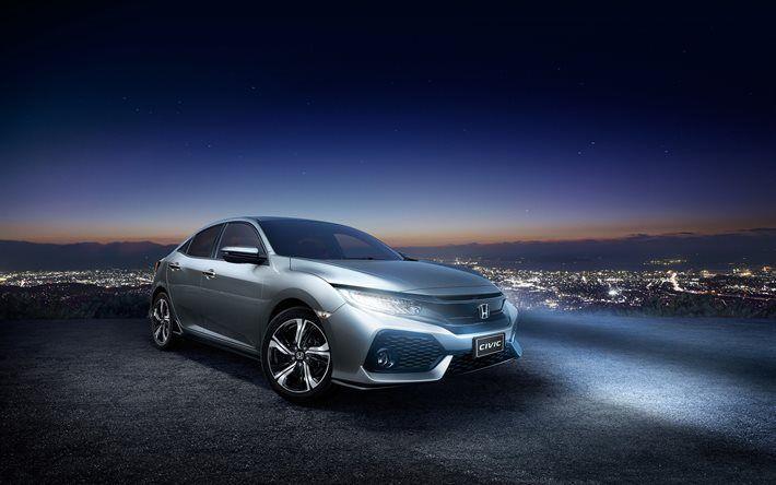 Télécharger fonds d'écran Honda Civic, 2017, Civic RS, à Hayon, 4k, les voitures Japonaises, Honda