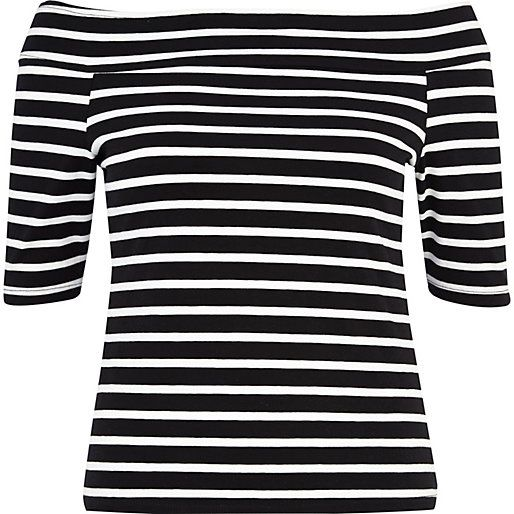 Black and white stripe bardot top - long sleeve tops - tops - women