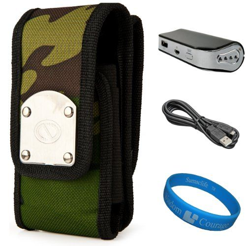 Camo NZTK Durable Holster Case with 2 Optional Belt Clips for HTC 8XT / HTC Desire 600 / HTC Desire L / HTC First / HTC Desire P / HTC One / HTC One SV LTE / HTC J / HTC One VX / HTC One X+ LTE / HTC Windows Phone 8X / HTC One Mini + Universal Power Bank with Micro USB Charging Cable + SumacLife TM Wisdom Courage Wristband NZTK Gladiator holster carrying case, interior dimension 5.38 in x 2.75in x... #NZTK #Wireless