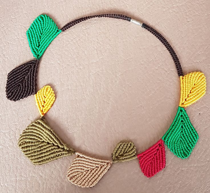 Multi Coloured Leaf Choker Necklace on Memory wire Using Macrame Technique by KalaaStudio on Etsy