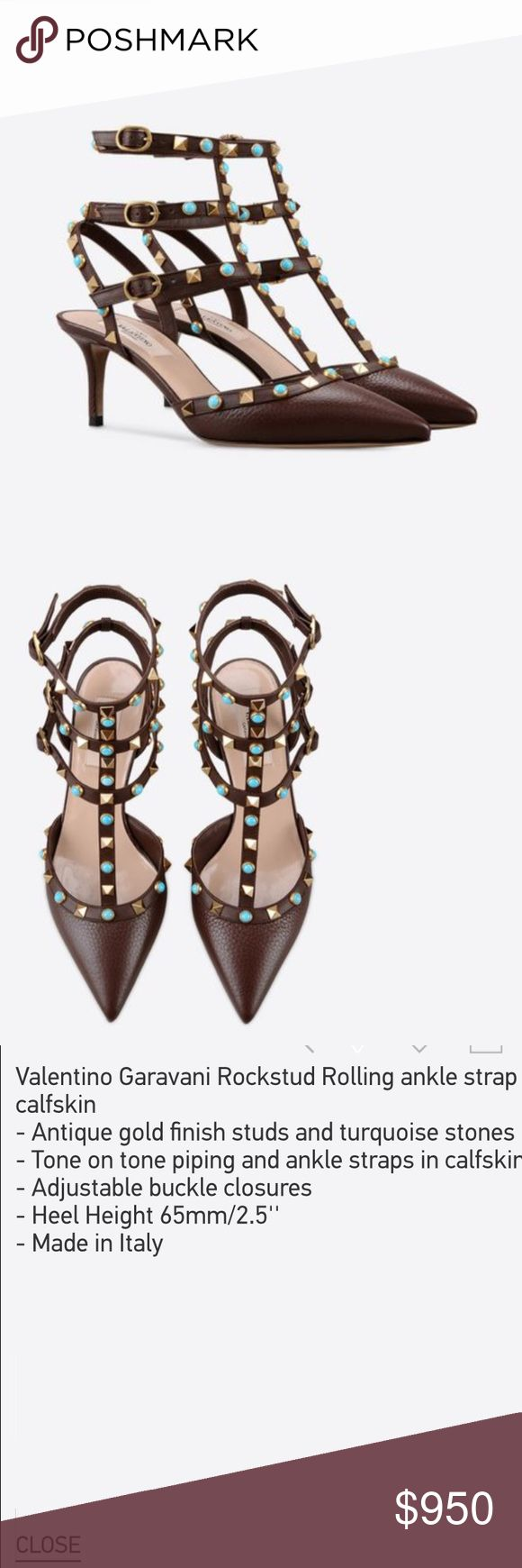 NWT Valentino rockstud ankle traps 100% authentic, including authentic card and box. Plus, poshmark will do the authenticity before sending it to you, so don't worry. Retail price: $1095.00 without tax Valentino Shoes Heels