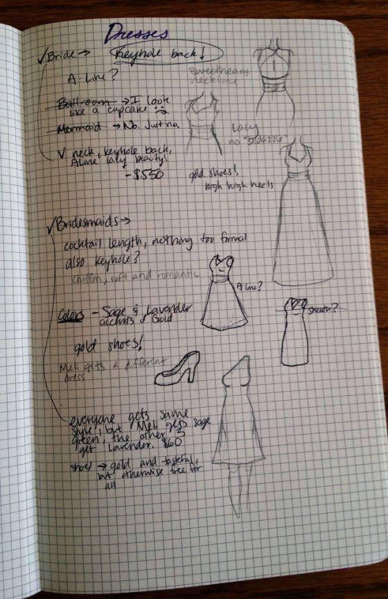 Planning a Wedding in the Bullet Journal Part Two: Attire | Littlecoffeefox.com
