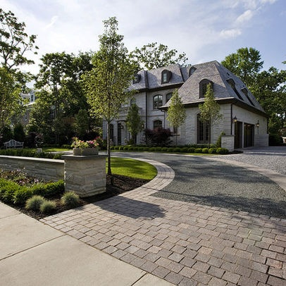 Driveways Landscaping Design, Tree Set Behind Post
