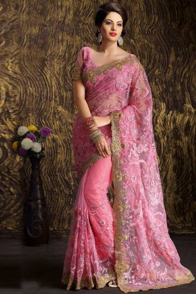 #PinkNet Embroidered Party Saree Sku Code:51-5203SA268634 US $ 168.00 http://www.sareez.com/product_info.php?products_id=164467 #WeddingPartyWear