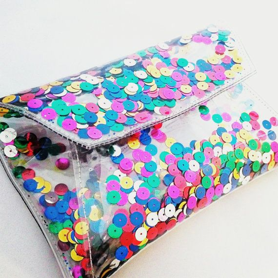 Clear purse clutch transparent bag glitter clutch by YPSILONBAGS
