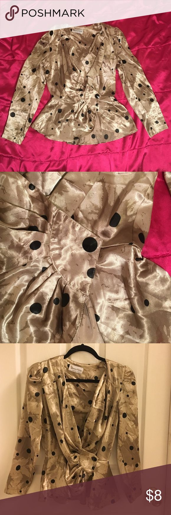 Vintage Satin Blouse Gold with black polka dots. One side button. Long sleeve. Light weight satin material. Vintage Tops Blouses
