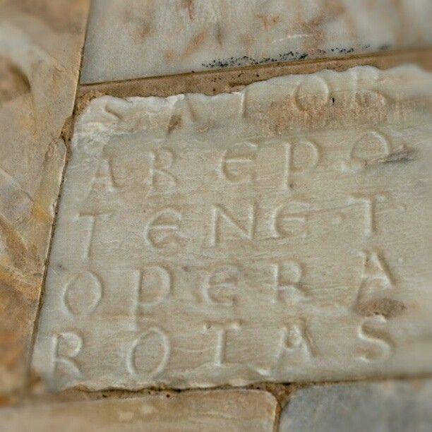 IL QUADRATO DEL SATOR    Arrivati al Duomo di Siena, andiamo a sinistra guardandone la facciata, verso la parte laterale che fronteggia il Palazzo arcivescovile ... lì, ad altezza d'uomo ma quasi invisibile a chi non sappia cosa cercare, c'è un'iscrizione quanto meno insolita se non misteriosa: il quadrato del Sator … segue alla pagina  http://iltesorodisiena.tumblr.com/post/41938835500/il-quadrato-del-sator-arrivati-al-duomo-di-siena