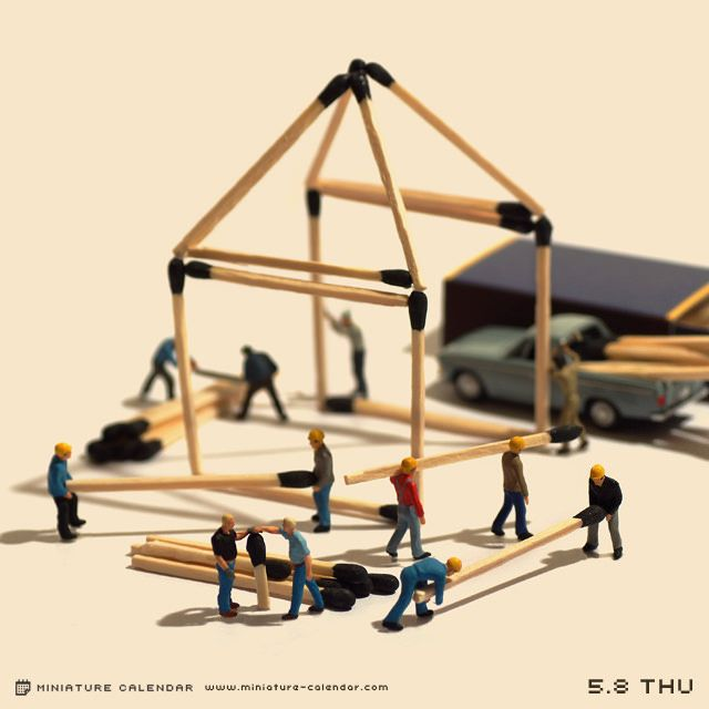 Match house. miniature photography - incredibly enchanting and surreal worlds made of little people - It's a small world afterall! Creative macro lens photography