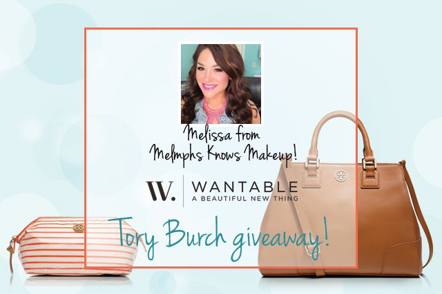 Enter to win a Tory Burch bag and matching cosmetic case filled with YouTube star Melissa's favorite June makeup!