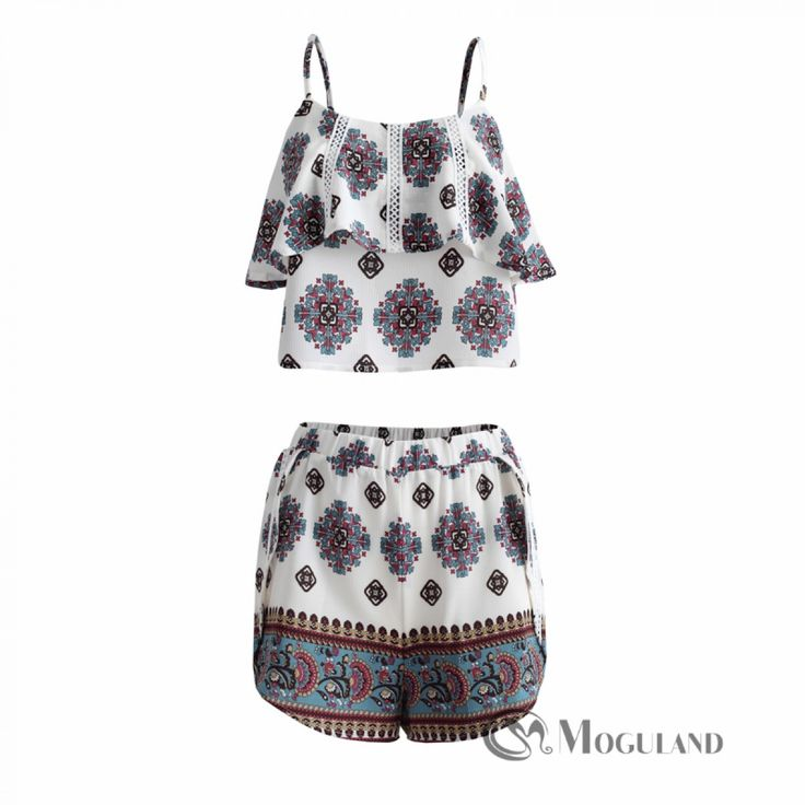 Ladies multi coloured tribal print strappy top and racer short set for wholesale - clothing/co-ords | Moguland.com - Wholesale Women's Clothing