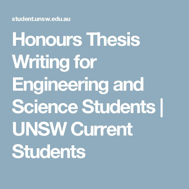 Honours Thesis Writing for Engineering and Science Students | UNSW Current Students