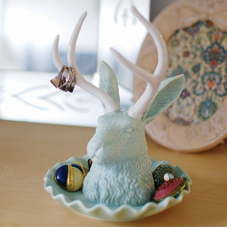 NEED - Imm Living Jackalope Glacier Blue Jewelry Holder