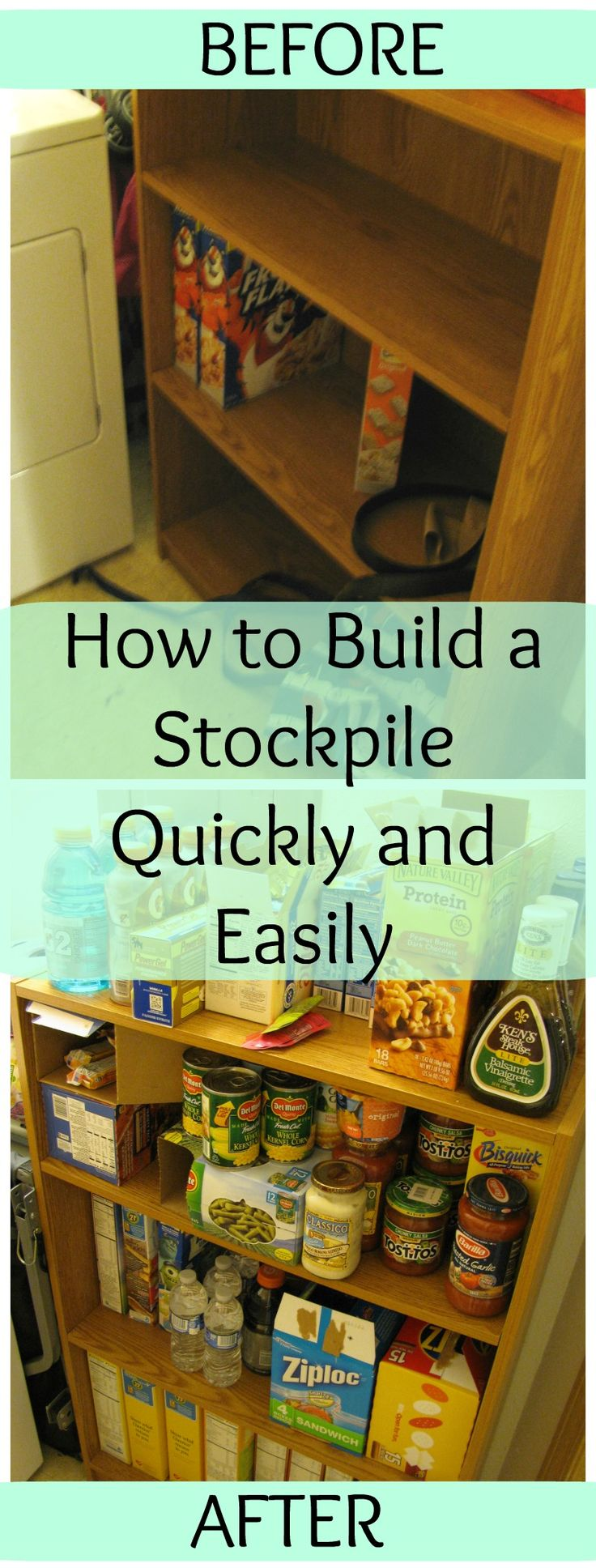 How to Build up a stockpile, and in a small apartment. Great tips for frugal living, couponing, organization and storage, and more!