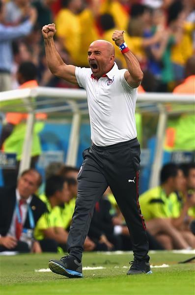 Jorge Sampaoli celebrates for Chile.
