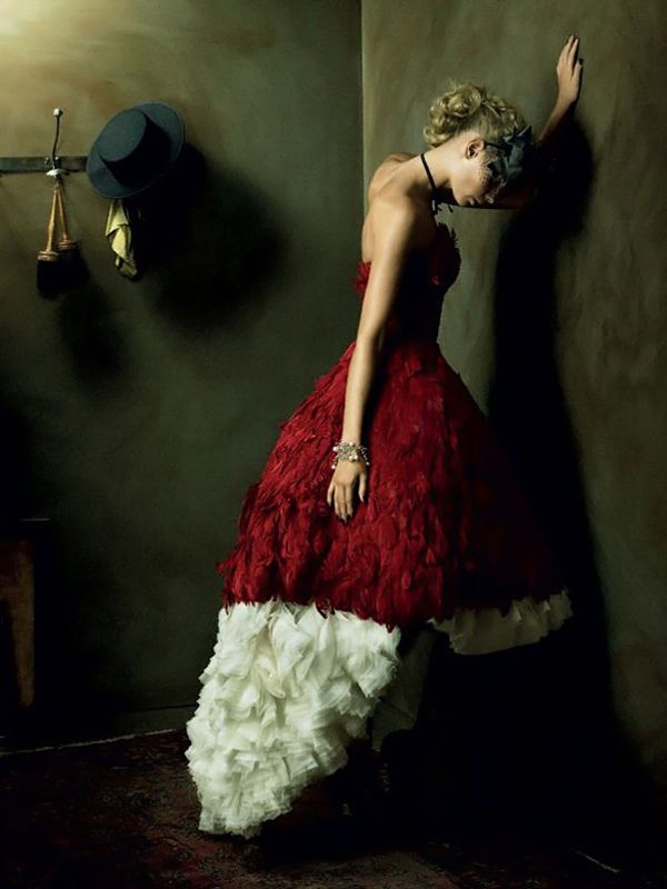 Red feathers and creme chiffon.