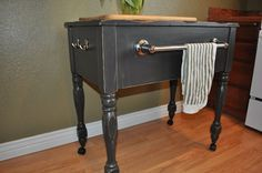 kitchen island made from old sewing machine cabinet!
