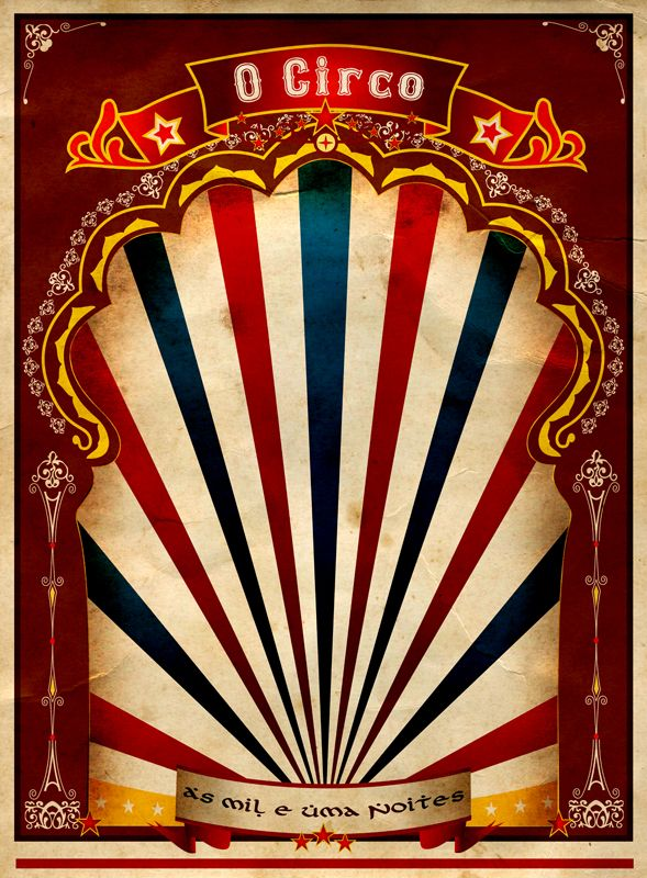 This is really cool.  I had been trying to create a similar retro circus design, but it did not turn out as neat as this Circus Poster by Nullaufein.deviantart.com on @deviantART