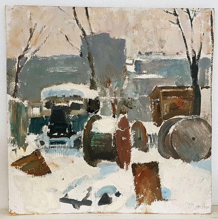 Original European Impressionism Social Realism USSR Oil Painting Industrial    #Impressionism