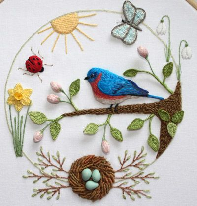 Beautiful Bluebird Embroidery -Flossbox Embroidery