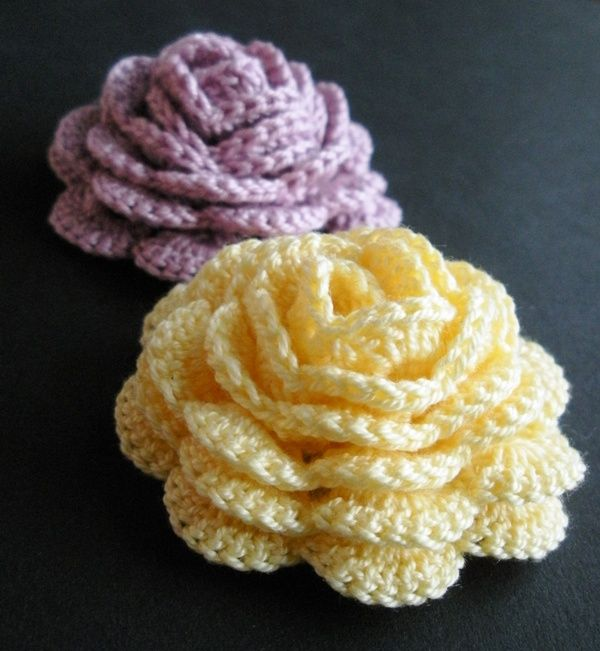 Crochet Rose, free pattern.  (There are also a couple of suggestions in the comments for free leaf patterns).