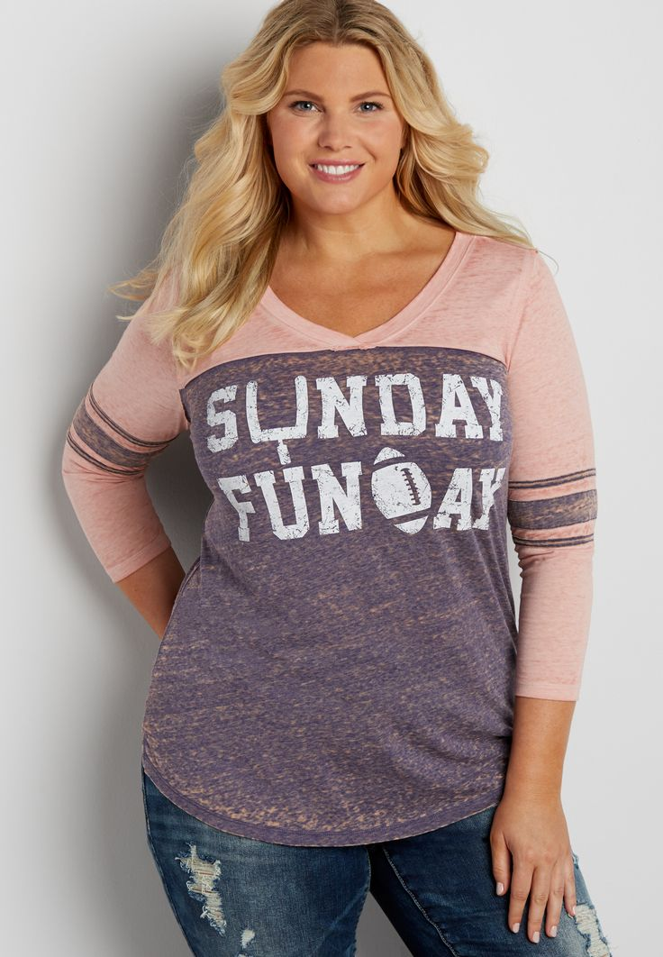 plus size burnwash football tee with Sunday Funday graphic